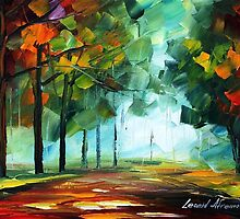 Green LIFE - Original Art Oil Painting On Canvas By Leonid Afremov by Leonid  Afremov