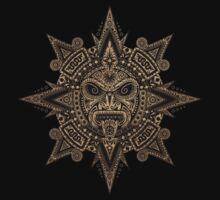 Ancient Stone Mayan Sun Mask  One Piece - Long Sleeve