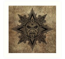 Ancient Stone Mayan Sun Mask  Art Print