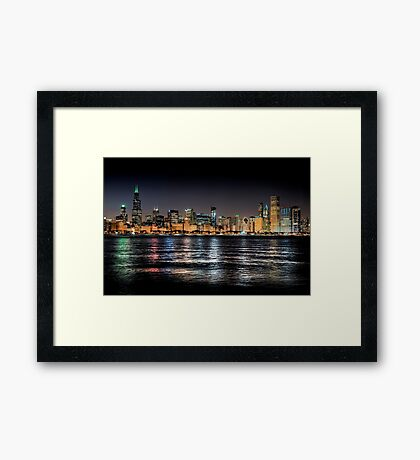Chicago skyline at midnight Framed Print