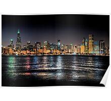 Chicago skyline at midnight Poster