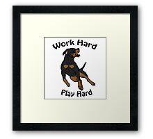 Work Hard, Play Hard - Black & Tan Framed Print