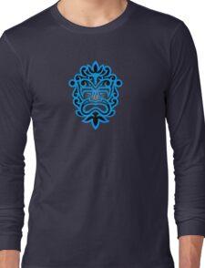 Stylish Blue and Black Mayan Mask Long Sleeve T-Shirt