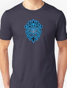 Stylish Blue and Black Mayan Mask Unisex T-Shirt