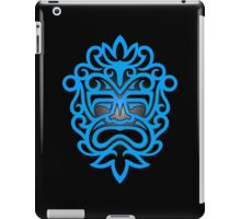 Stylish Blue and Black Mayan Mask iPad Case/Skin