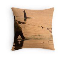 Mekong Net Fishing - Savannakhet, Laos Throw Pillow