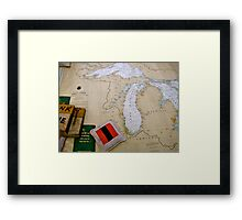 Antique map of the Great Lakes USA Framed Print
