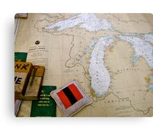 Antique map of the Great Lakes USA Metal Print