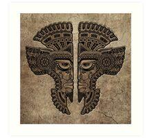 Stone Aztec Twins Mask Illusion Art Print