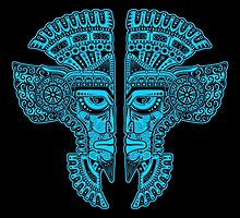 Blue and Black Aztec Twins Mask Illusion by Jeff Bartels