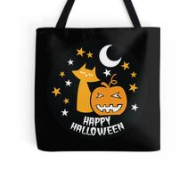 Happy HALLOWEEN!  with a pumpkin and cat and moon Tote Bag