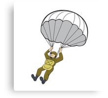 American Paratrooper Parachute Cartoon Canvas Print