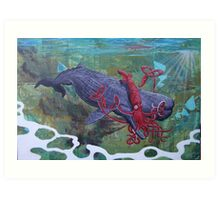 Clash of the Sea Monsters Art Print