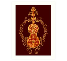 Intricate Golden Red Tribal Violin Design Art Print