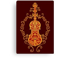 Intricate Golden Red Tribal Violin Design Canvas Print