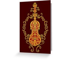 Intricate Golden Red Tribal Violin Design Greeting Card