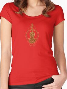 Intricate Brown Tribal Violin Design Women's Fitted Scoop T-Shirt