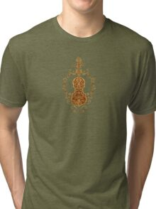 Intricate Brown Tribal Violin Design Tri-blend T-Shirt