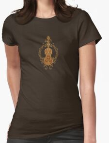 Intricate Brown Tribal Violin Design Womens Fitted T-Shirt
