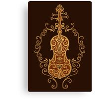 Intricate Brown Tribal Violin Design Canvas Print