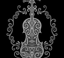 Intricate Gray and Black Tribal Violin Design by Jeff Bartels