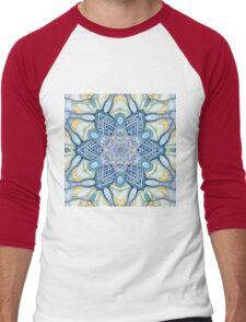 Blue and yelow mandala Men's Baseball ¾ T-Shirt