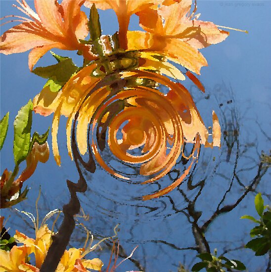 Flame Azalea Reflections by Jean Gregory  Evans