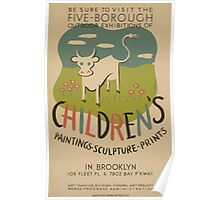 WPA United States Government Work Project Administration Poster 0623 Five Borough Outdoor Exhibitions of Children's Paintings Sculpture Prints Brooklyn Poster