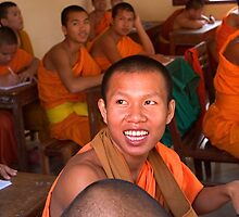 Amused Monks - Savannakhet, Laos by Alex Zuccarelli