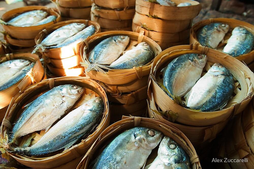 Fish in Baskets - Vientiane, Laos by Alex Zuccarelli