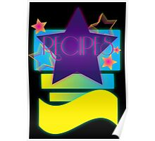 NOTEBOOKS-Recipes: 80s Retro Gradient Stars Poster