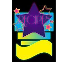 NOTEBOOKS-Recipes: 80s Retro Gradient Stars Photographic Print