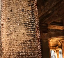 Ancient Inscriptions - Angkor Wat, Cambodia by Alex Zuccarelli