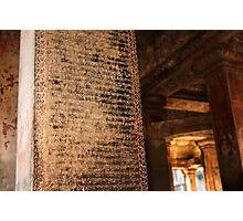 Ancient Inscriptions - Angkor Wat, Cambodia Photographic Print