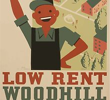 WPA United States Government Work Project Administration Poster 0962 Low Rent Woodhill Homes Cleveland Metropolitan Housing Authority by wetdryvac