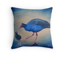 Pukeko and chick Throw Pillow
