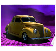 1938 Ford Custom Yellow Coupe Poster