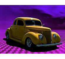 1938 Ford Custom Yellow Coupe Photographic Print