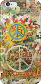 The Beatles iPhone Case John Lennon Peace Sign 6, 5, 4s, 4, 3gs, 3 Imagine All You Need is Love by Tara Holland