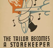 WPA United States Government Work Project Administration Poster 0664 The Tailor Becomes a Store Keeper David Pinski Daly's Theatre by wetdryvac