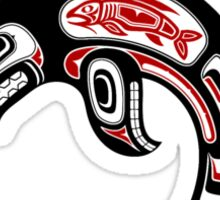 Red and Black Haida Spirit Killer Whale Sticker
