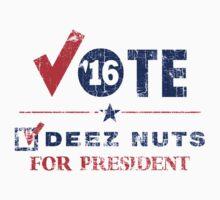 Vintage Vote Deez Nuts For President 2016 Kids Tee