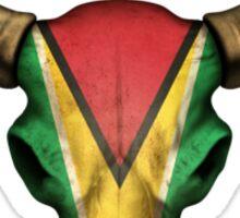 Guyanese Flag Bull Skull  Sticker