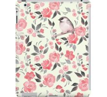 Watercolor floral background with a cute bird 2 iPad Case/Skin