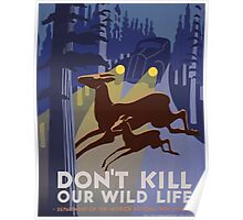 WPA United States Government Work Project Administration Poster 1041 Don't Kill Our Wild Lide Department of the Interior National Park Service Poster