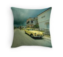 Yellow storm car  Throw Pillow