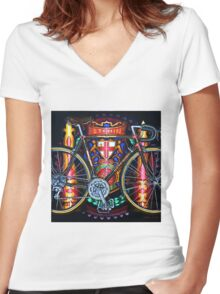 Hetchins Curly Bicycle Women's Fitted V-Neck T-Shirt