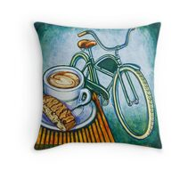 Green Electra Delivery Bicycle Coffee and biscotti Throw Pillow