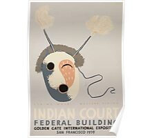 WPA United States Government Work Project Administration Poster 1034 Eskimo Mask Western Alaska Indian Cour Dederal Building Poster