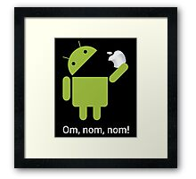 Android Om Nom Nom - Android Eat Apple Framed Print